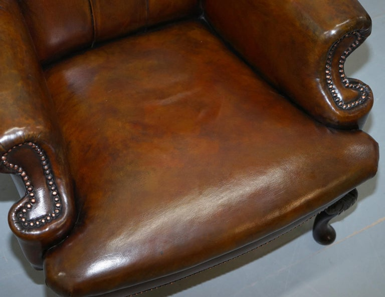 Pair of Restored Cigar Brown Leather Chesterfield Wingback Armchairs Carved Legs For Sale 7