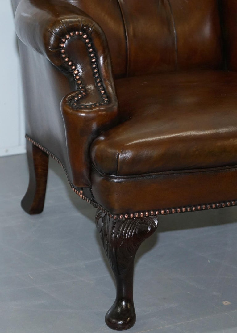 Pair of Restored Cigar Brown Leather Chesterfield Wingback Armchairs Carved Legs For Sale 8