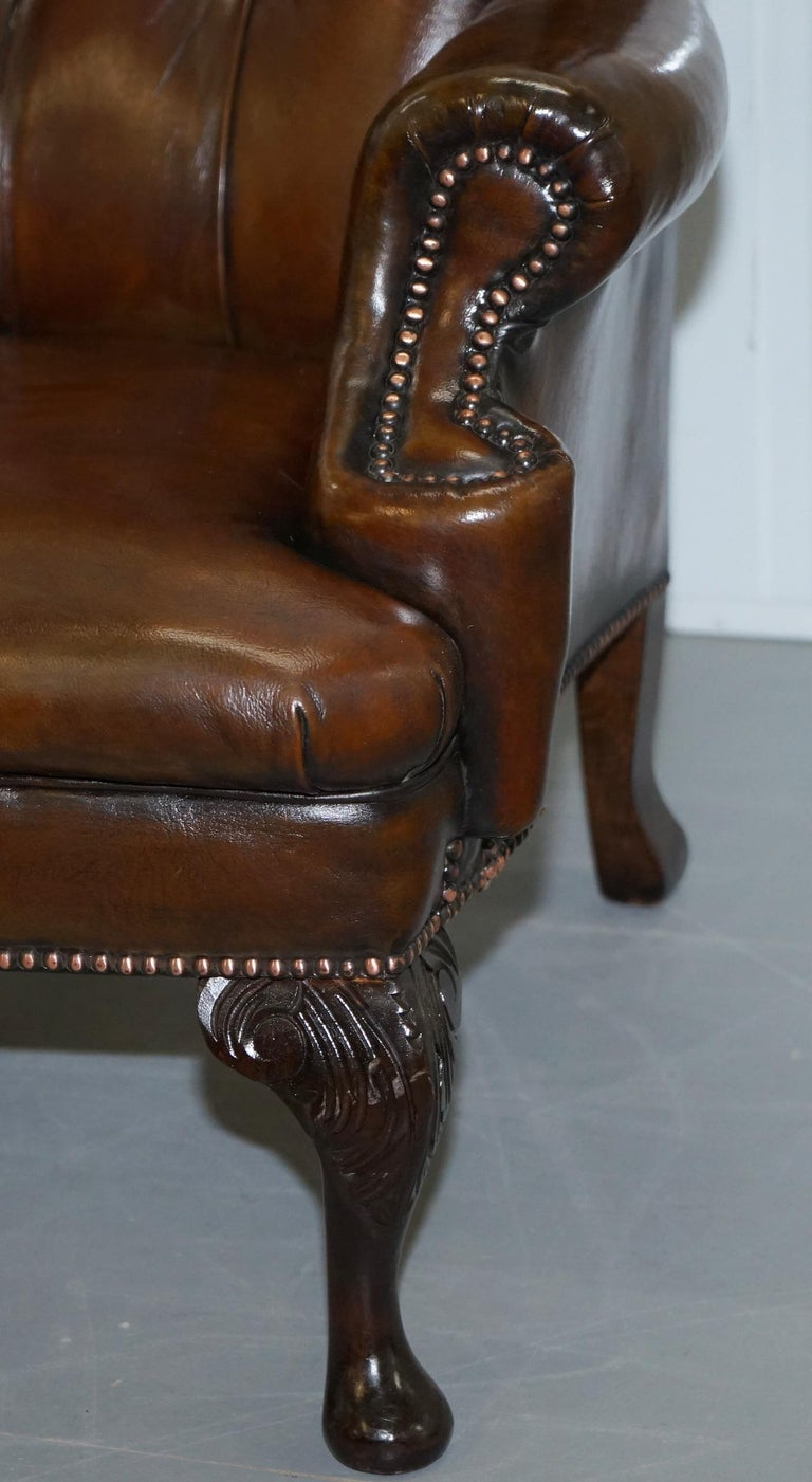 Pair of Restored Cigar Brown Leather Chesterfield Wingback Armchairs Carved Legs For Sale 9