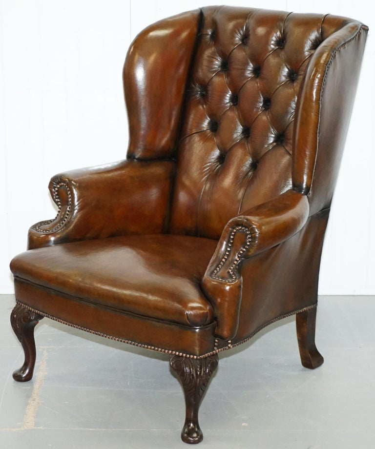 Pair of Restored Cigar Brown Leather Chesterfield Wingback ...