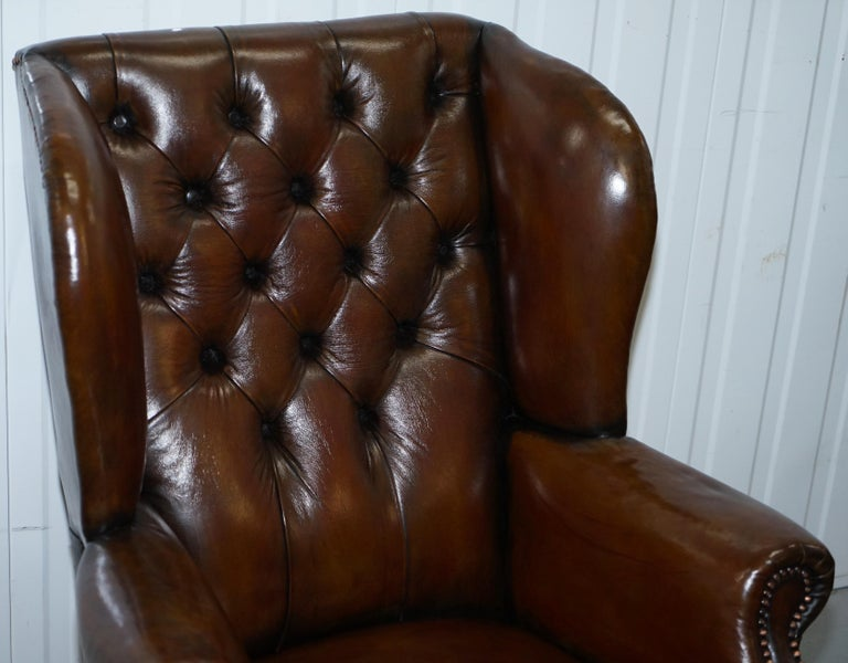English Pair of Restored Cigar Brown Leather Chesterfield Wingback Armchairs Carved Legs For Sale
