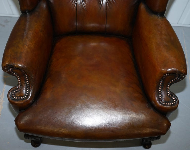 Hand-Crafted Pair of Restored Cigar Brown Leather Chesterfield Wingback Armchairs Carved Legs For Sale