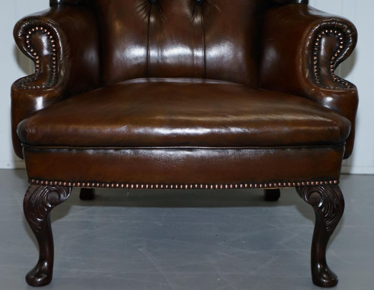 20th Century Pair of Restored Cigar Brown Leather Chesterfield Wingback Armchairs Carved Legs For Sale