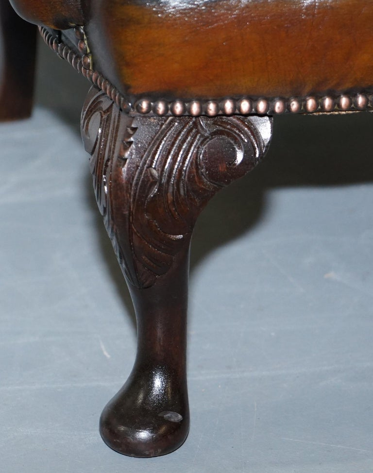 Pair of Restored Cigar Brown Leather Chesterfield Wingback Armchairs Carved Legs For Sale 1