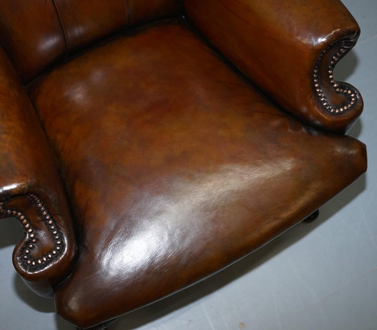 Pair of Restored Cigar Brown Leather Chesterfield Wingback Armchairs Carved Legs For Sale 2