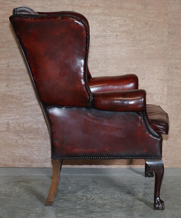 Pair of Restored Claw & Ball Chesterfield Wingback Bordeaux Leather Armchairs For Sale 3