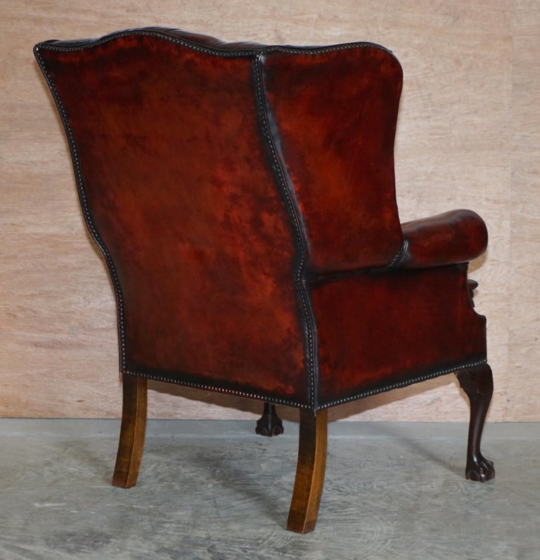 Pair of Restored Claw & Ball Chesterfield Wingback Bordeaux Leather Armchairs For Sale 4