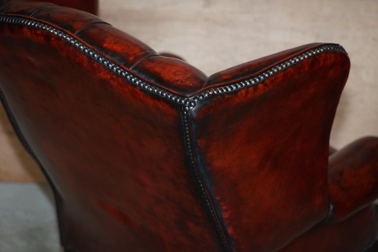 Pair of Restored Claw & Ball Chesterfield Wingback Bordeaux Leather Armchairs For Sale 5