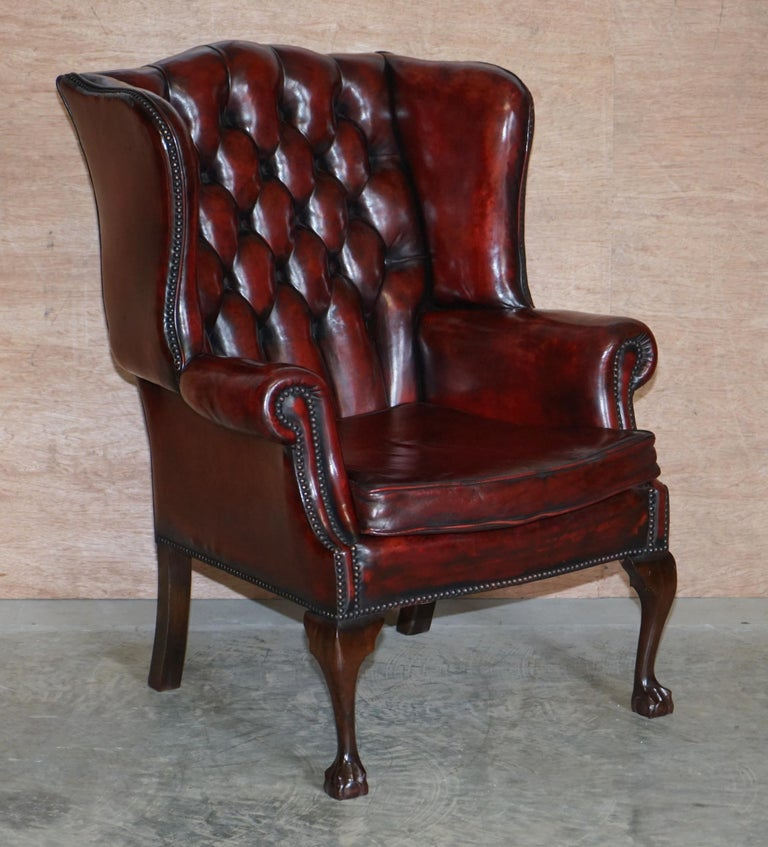 Pair of Restored Claw & Ball Chesterfield Wingback Bordeaux Leather Armchairs For Sale 6
