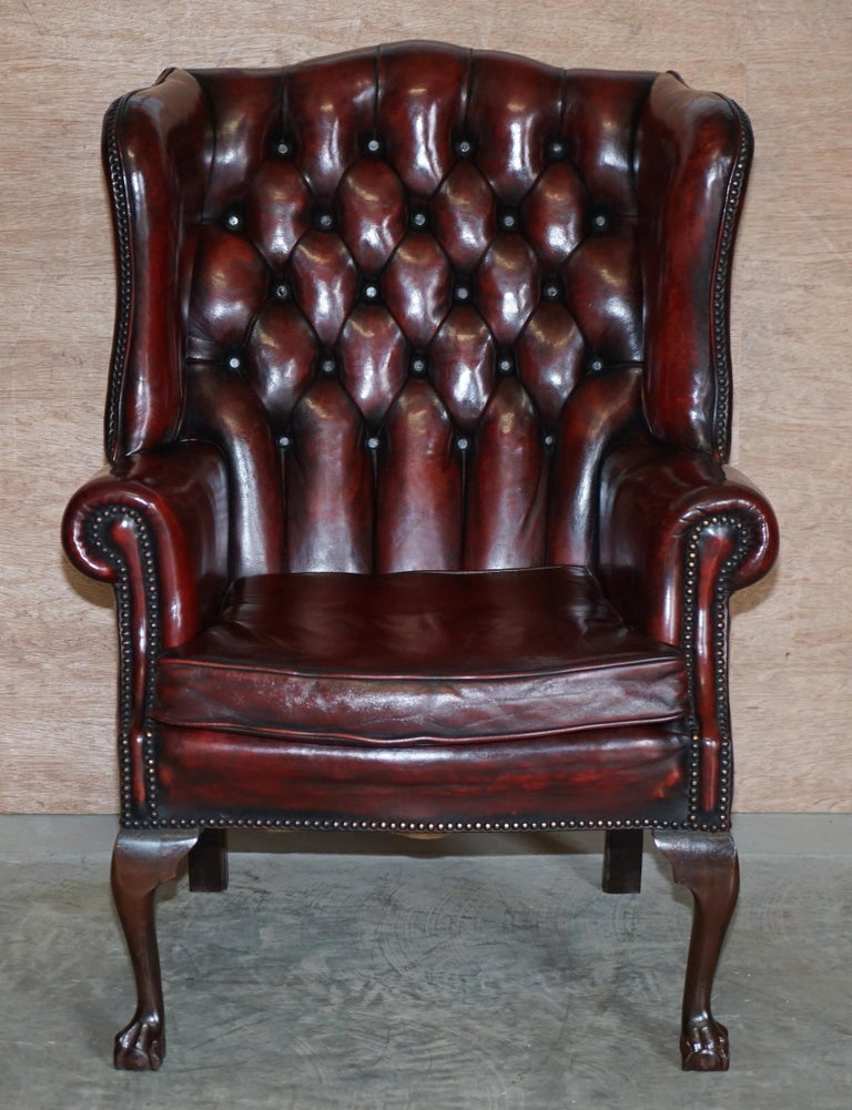 Pair of Restored Claw & Ball Chesterfield Wingback Bordeaux Leather Armchairs For Sale 7