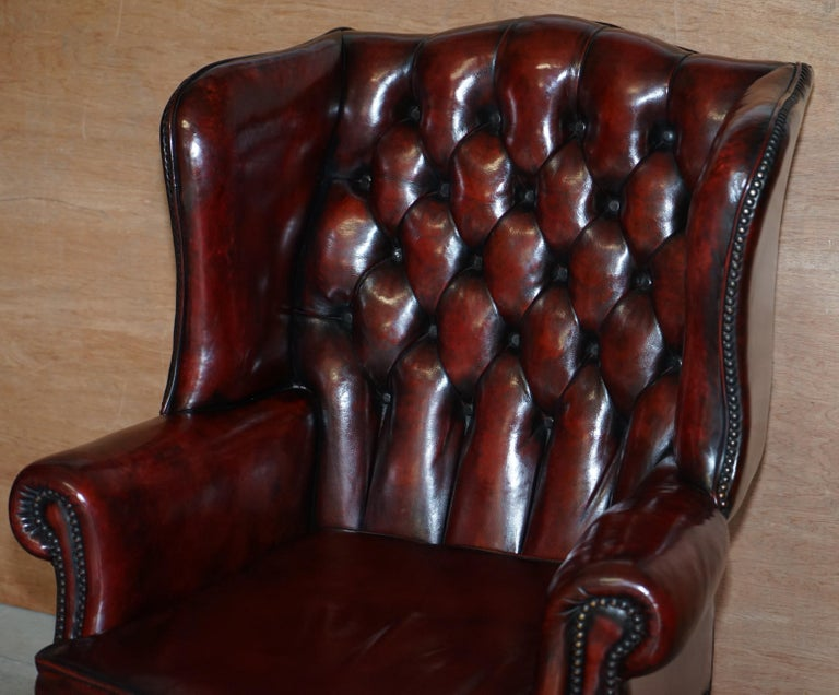 Pair of Restored Claw & Ball Chesterfield Wingback Bordeaux Leather Armchairs For Sale 8