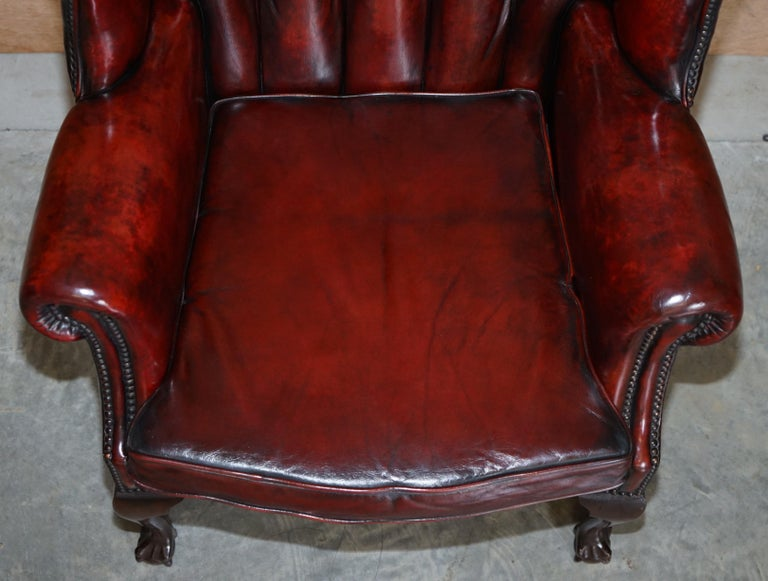 Pair of Restored Claw & Ball Chesterfield Wingback Bordeaux Leather Armchairs For Sale 10