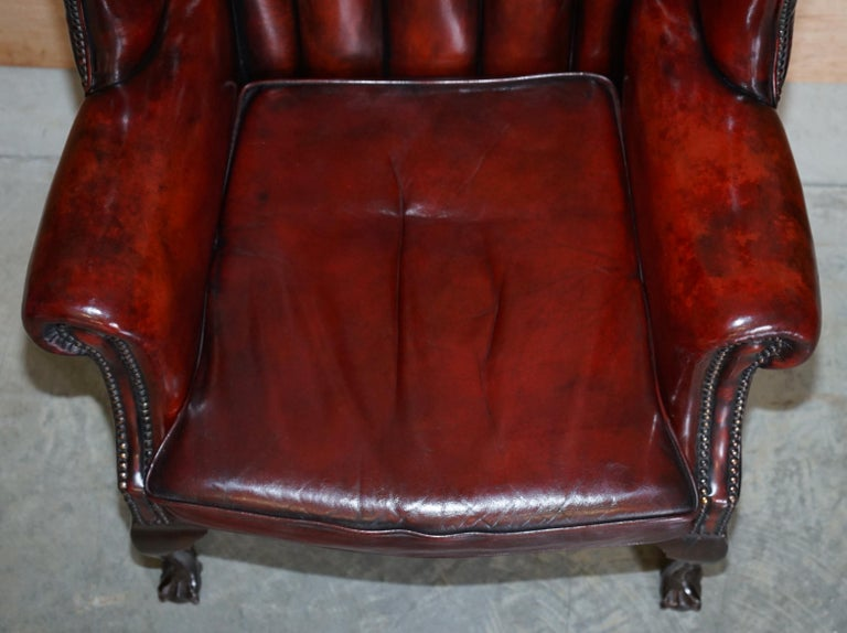 English Pair of Restored Claw & Ball Chesterfield Wingback Bordeaux Leather Armchairs For Sale