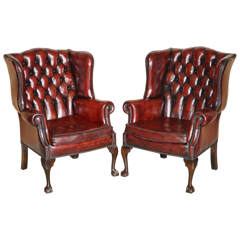 Pair of Restored Claw & Ball Chesterfield Wingback Bordeaux Leather Armchairs For Sale