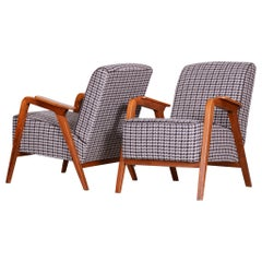 Pair of Restored Czech Midcentury Brown Beech Armchairs, 1940s, New Upholstery