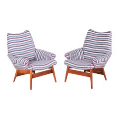 Pair of Restored Czech Midcentury Blue Oak Armchairs, 1950s, New Upholstery