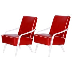 Pair of Restored Czech Midcentury Red and White Armchairs, 1950s, New Upholstery