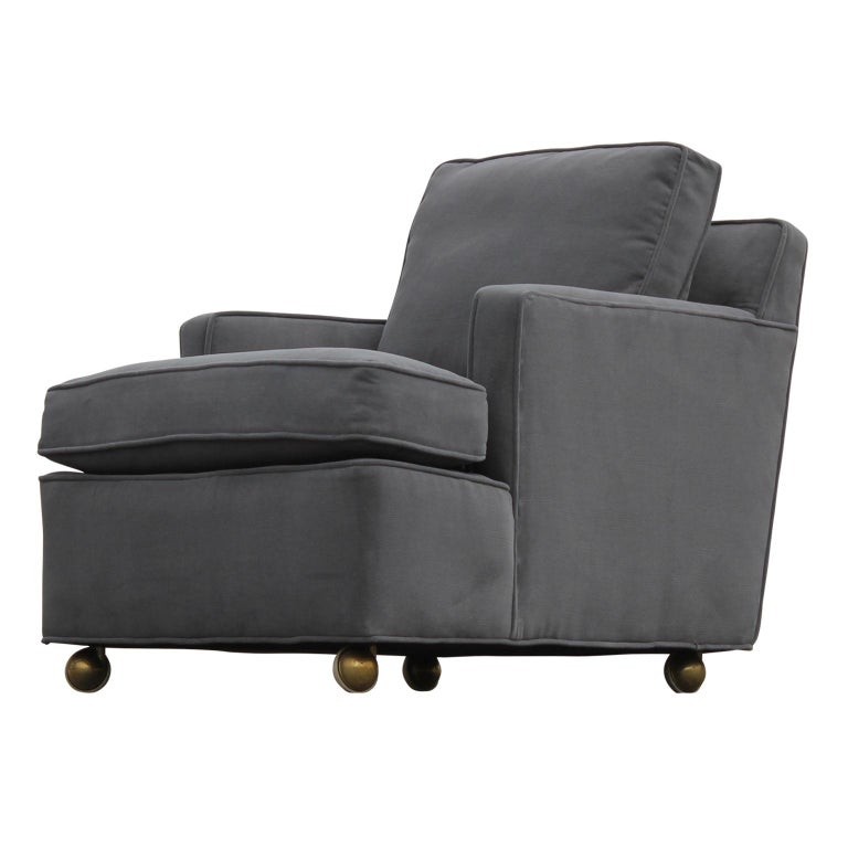 Mid-Century Modern Pair of Restored Early Dunbar Wormley Modern Classic Lounge Chairs and Ottoman For Sale