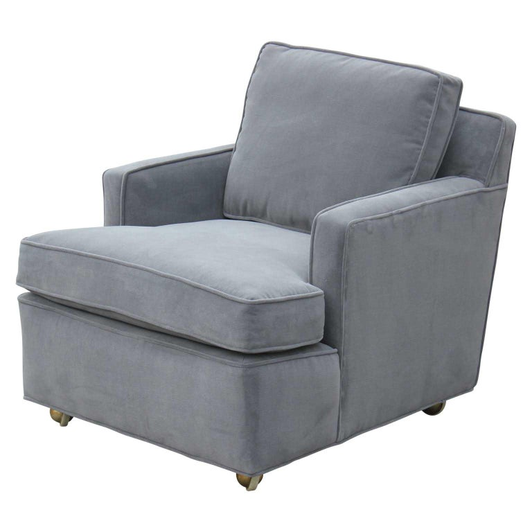 American Pair of Restored Early Dunbar Wormley Modern Classic Lounge Chairs and Ottoman For Sale
