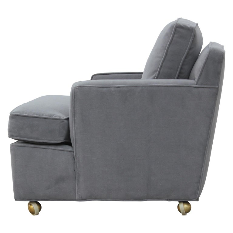 Pair of Restored Early Dunbar Wormley Modern Classic Lounge Chairs and Ottoman In Excellent Condition For Sale In Houston, TX