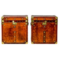 Pair of Restored English Leather Trunks with Medical Regimental Cartouche