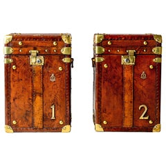 Pair of Restored English Leather Trunks with Regimental Cartouche