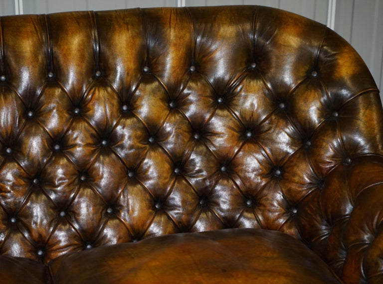 Pair of Restored Feather Filled Cushion Whisky Brown Leather Chesterfield Sofas 3