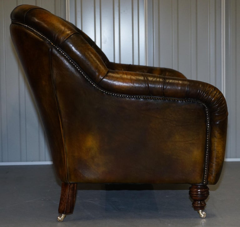 Pair of Restored Feather Filled Cushion Whisky Brown Leather Chesterfield Sofas 4