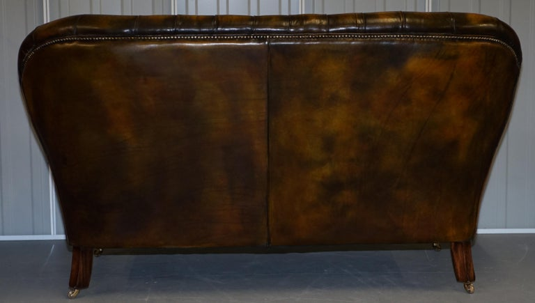 Pair of Restored Feather Filled Cushion Whisky Brown Leather Chesterfield Sofas 5
