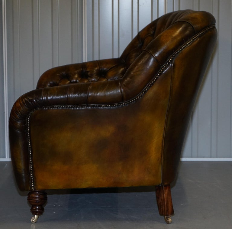 Pair of Restored Feather Filled Cushion Whisky Brown Leather Chesterfield Sofas 6