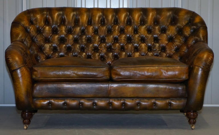 Victorian Pair of Restored Feather Filled Cushion Whisky Brown Leather Chesterfield Sofas