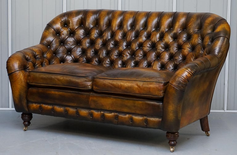 English Pair of Restored Feather Filled Cushion Whisky Brown Leather Chesterfield Sofas