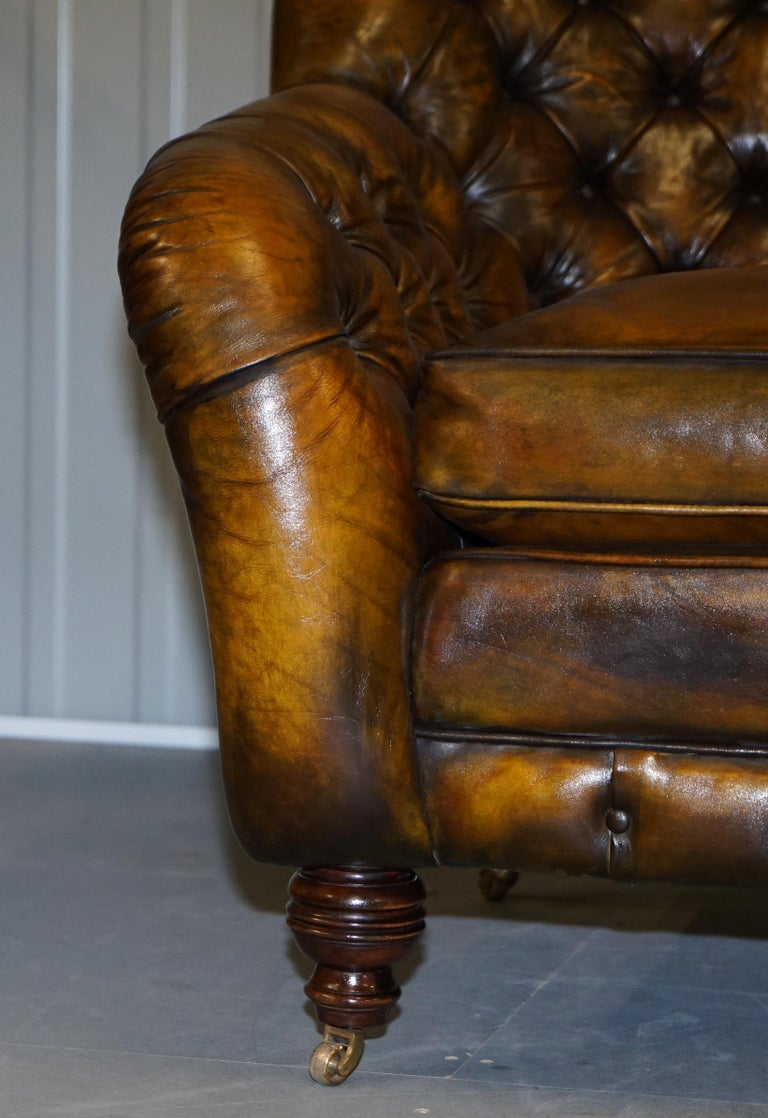 Hand-Crafted Pair of Restored Feather Filled Cushion Whisky Brown Leather Chesterfield Sofas