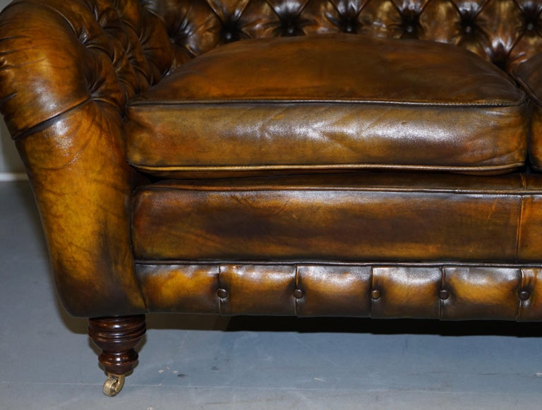 20th Century Pair of Restored Feather Filled Cushion Whisky Brown Leather Chesterfield Sofas