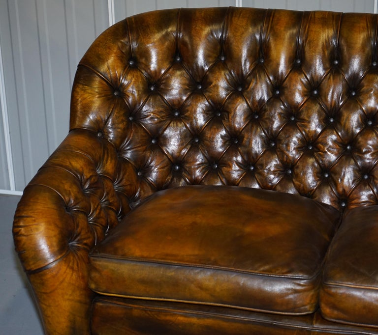 Pair of Restored Feather Filled Cushion Whisky Brown Leather Chesterfield Sofas 1