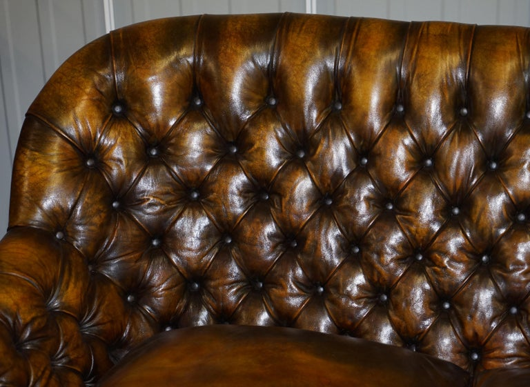Pair of Restored Feather Filled Cushion Whisky Brown Leather Chesterfield Sofas 2