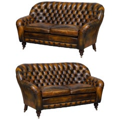 Pair of Restored Feather Filled Cushion Whisky Brown Leather Chesterfield Sofas