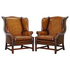 Pair of Restored Georgian Style Wingback Fireside Armchairs Whisky Brown Leather