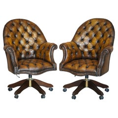 Pair of Restored Godfather Cigar Brown Leather Chesterfield Directors Chairs