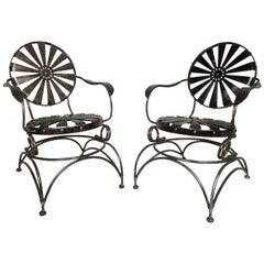 Pair of Restored Metal Chairs by Francis Carre
