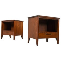 "Pair of Restored Midcentury Drexel ""Modern"" Walnut Nightstands, circa 1950s"
