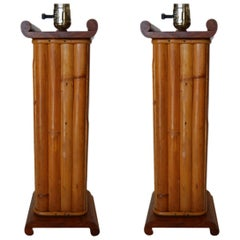 Pair of Restored Paul Frankl Demi Inspired Rattan and Mahogany Table Lamp