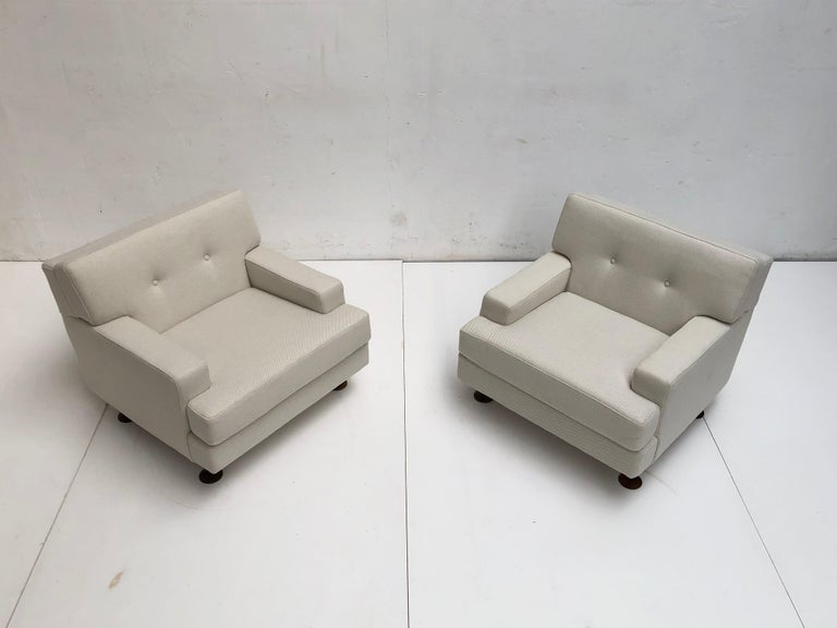 Pair of Restored 'SQUARE' Lounge Chairs by Zanuso for Arflex,Italy, 1962, Signed For Sale 3