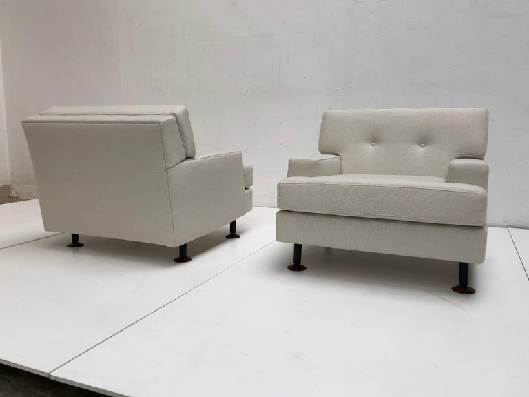 Italian Pair of Restored 'SQUARE' Lounge Chairs by Zanuso for Arflex,Italy, 1962, Signed For Sale