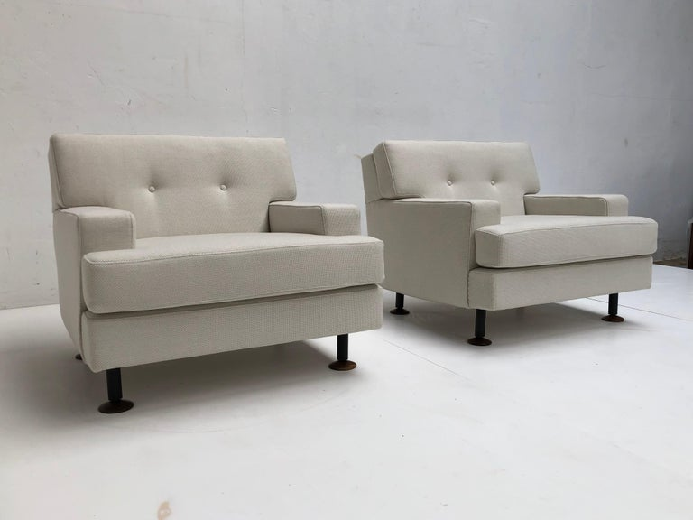 Pair of Restored 'SQUARE' Lounge Chairs by Zanuso for Arflex,Italy, 1962, Signed In Good Condition For Sale In bergen op zoom, NL
