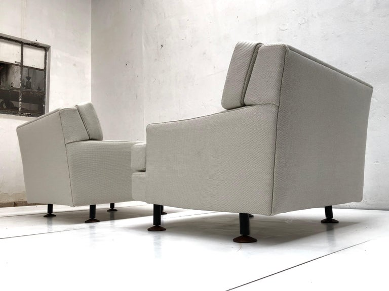 Pair of Restored 'SQUARE' Lounge Chairs by Zanuso for Arflex,Italy, 1962, Signed For Sale 1