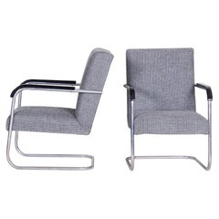 Pair of Restored Tubular Thonet Armchairs by Anton Lorenz, New Upholstery, 1930s