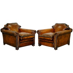 Pair of Restored Victorian Brown Leather Club Armchairs Feather Filled Cushions