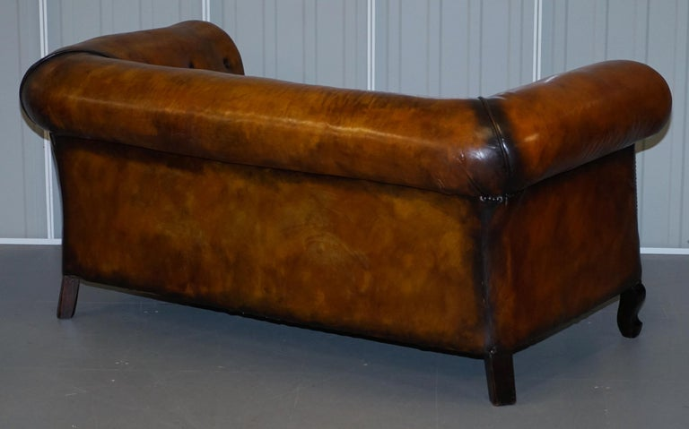 Pair of Restored Victorian Gentleman Club Chesterfield Leather Sofas Kilim Seats For Sale 4