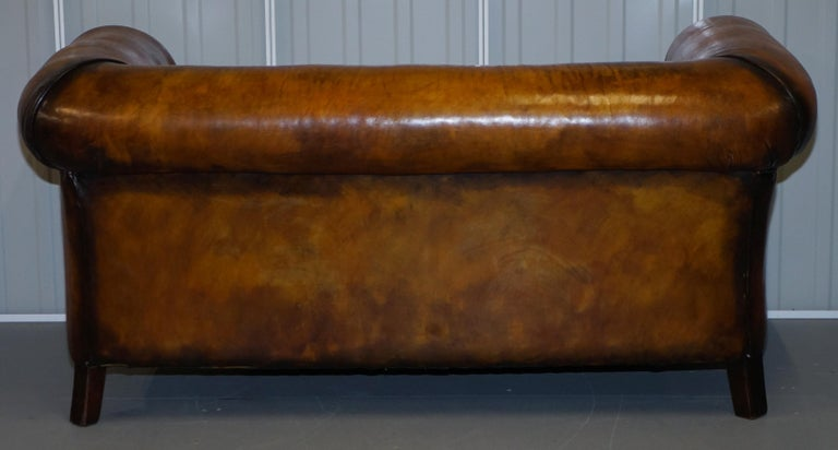 Pair of Restored Victorian Gentleman Club Chesterfield Leather Sofas Kilim Seats For Sale 5